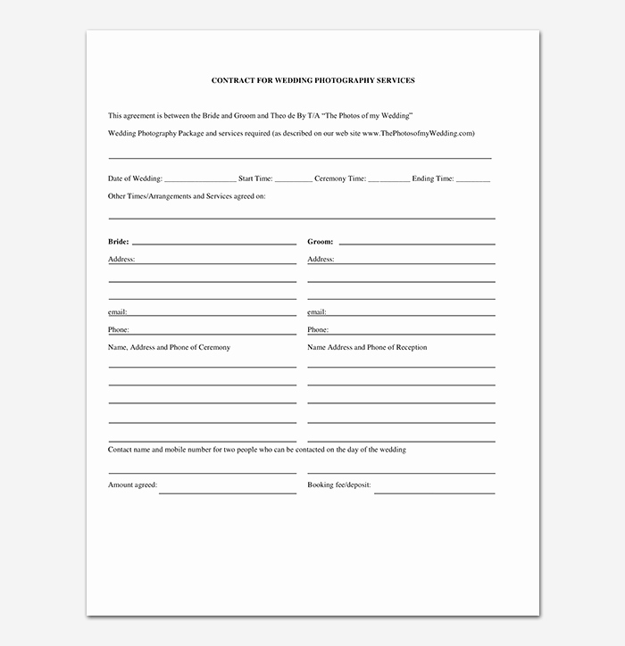 Wedding Photography Contract Pdf Fresh Graphy Contract Template 40 Free In Word Pdf