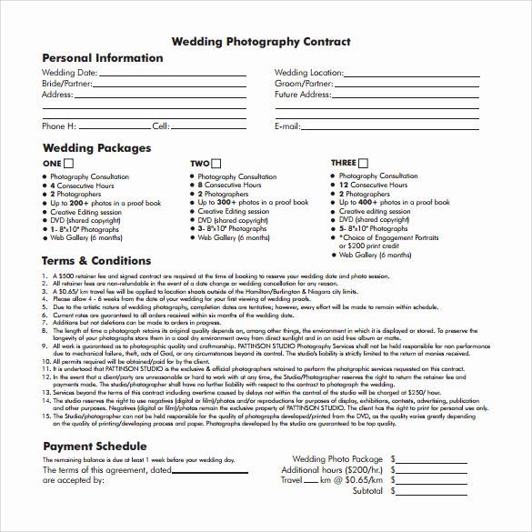 Wedding Photography Contract Pdf Fresh Wedding Contract Template 23 Download Documents In Pdf