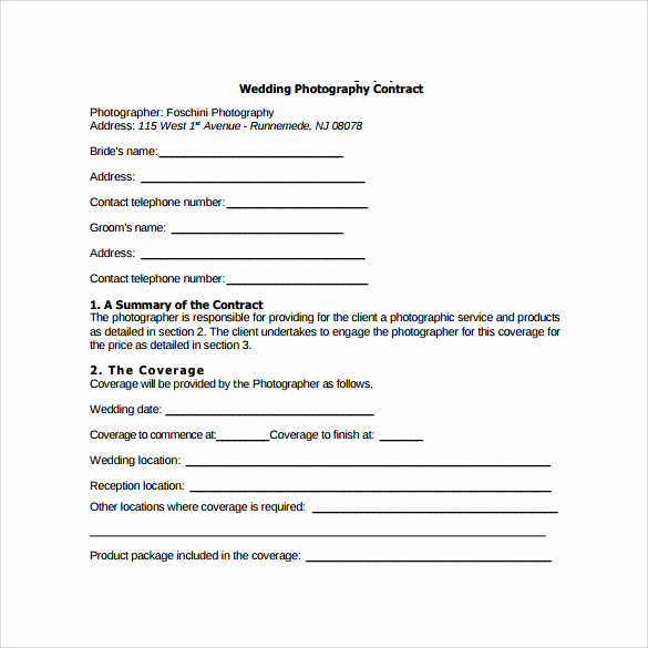 Wedding Photography Contract Pdf Inspirational Wedding Graphy Contract Template 14 Download Free
