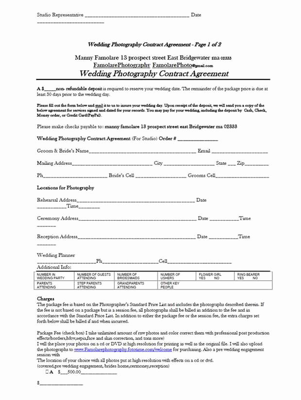 Wedding Photography Contract Pdf Luxury 5 Free Wedding Graphy Contract Templates
