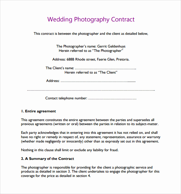 Wedding Photography Contract Pdf Luxury Wedding Graphy Contract Template 14 Download Free