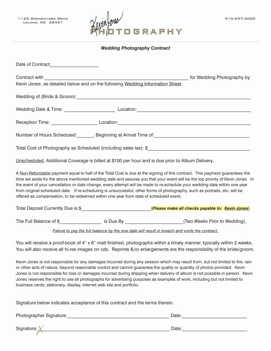 Wedding Photography Contract Pdf Unique Wedding Photography Contract