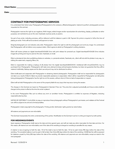Wedding Photography Contract Template Awesome Graphy Contract Template Free Download Create Edit