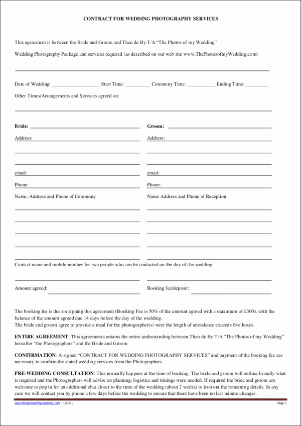 Wedding Photography Contract Template Best Of 19 Graphy Contract Templates