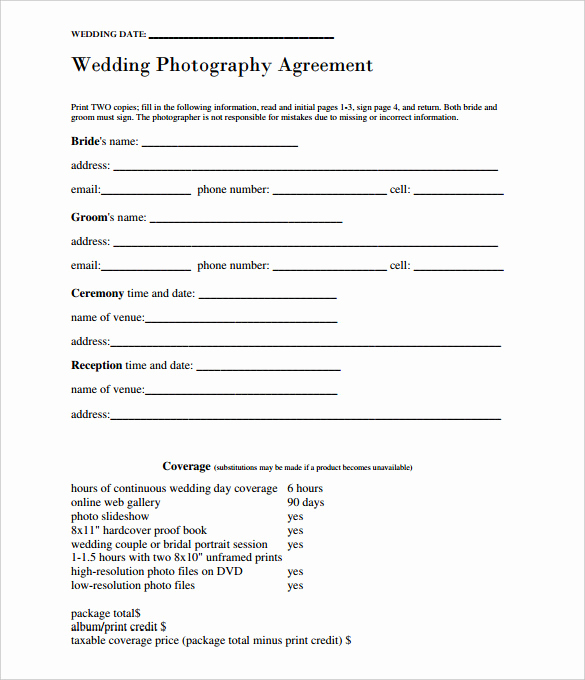 Wedding Photography Contract Template Elegant 17 Wedding Template Doc Excel Pdf Psd Indesign