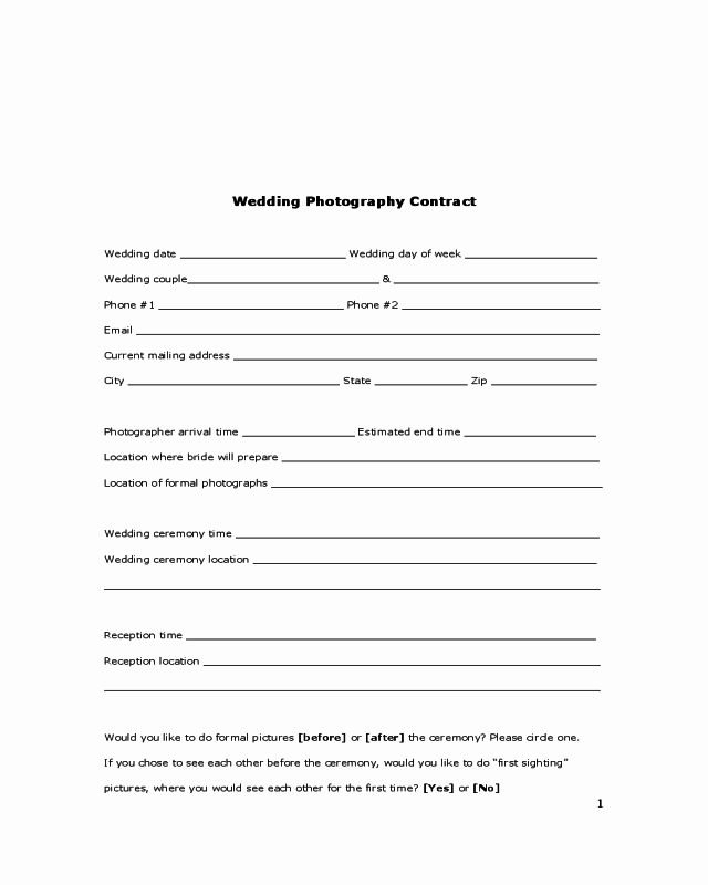 Wedding Photography Contract Template Elegant 2019 Wedding Contract Template Fillable Printable Pdf