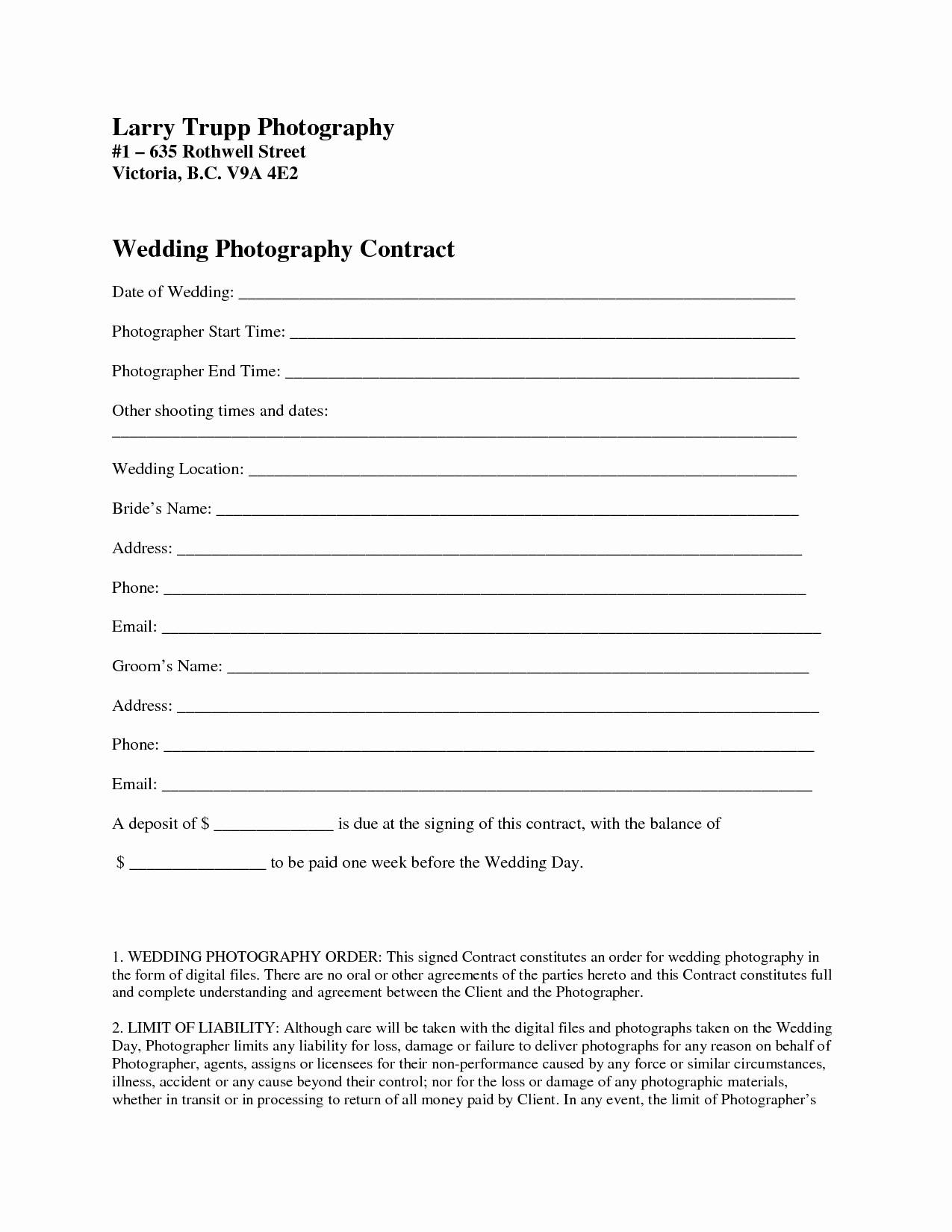 Wedding Photography Contract Template Elegant Graphy Contract Template
