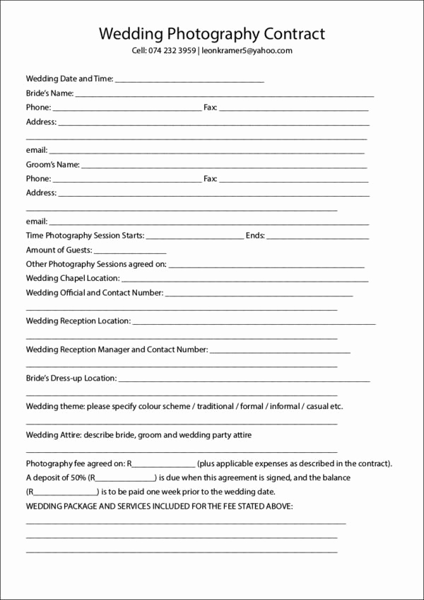 Wedding Photography Contract Template Fresh 23 Graphy Contract Templates and Samples In Pdf