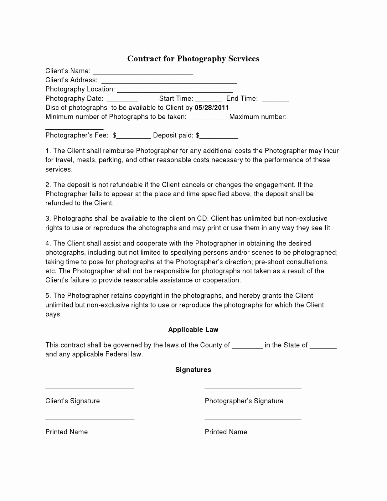 Wedding Photography Contract Template Fresh Basic Wedding Graphy Contracts