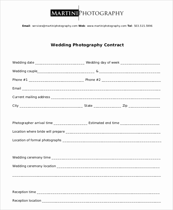 Wedding Photography Contract Template Inspirational Graphy Contract Example 11 Free Word Pdf Documents