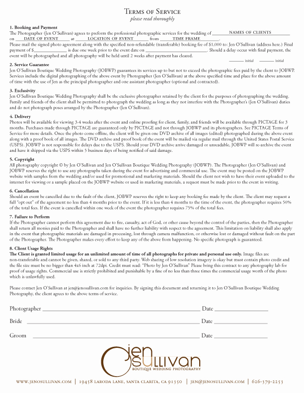 Wedding Photography Contract Template Unique Contract form – Guatemalago