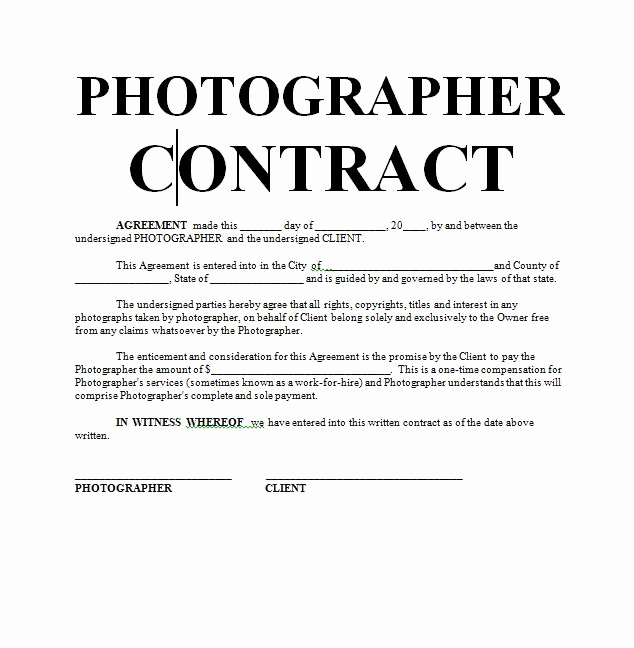 Wedding Photography Contract Template Unique Graphy Contract