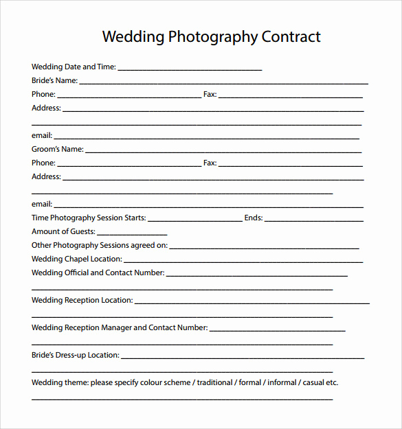 Wedding Photography Contract Template Unique Wedding Graphy Contract Template 14 Download Free
