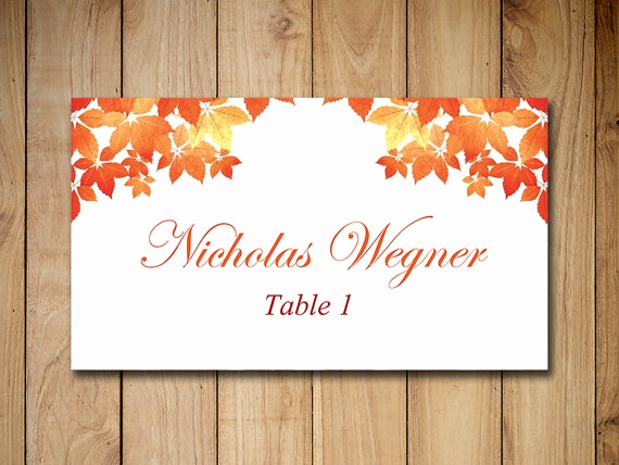 Wedding Place Cards Template Elegant Fall Wedding Place Cards Template Escort Card Fall