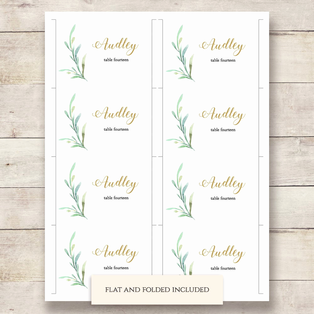 Wedding Place Cards Template Elegant Greenery Wedding Table Place Card Template Flat and Folded