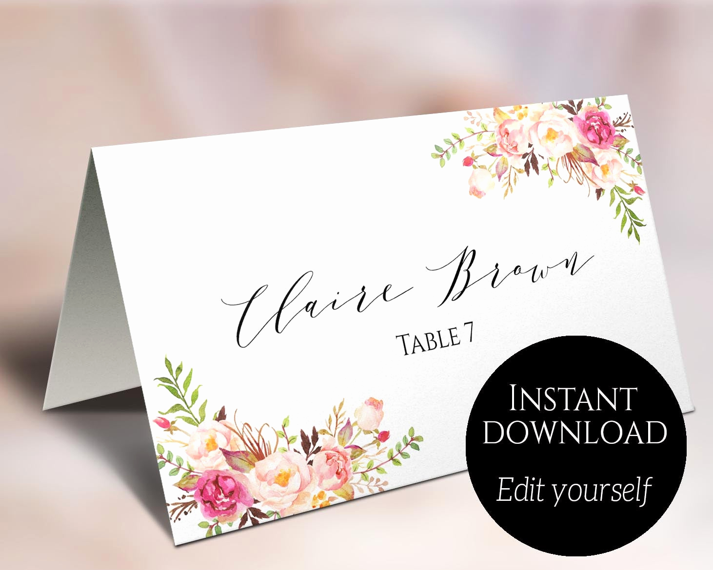 Wedding Place Cards Template Elegant Place Card Template Wedding Place Cards Editable Place