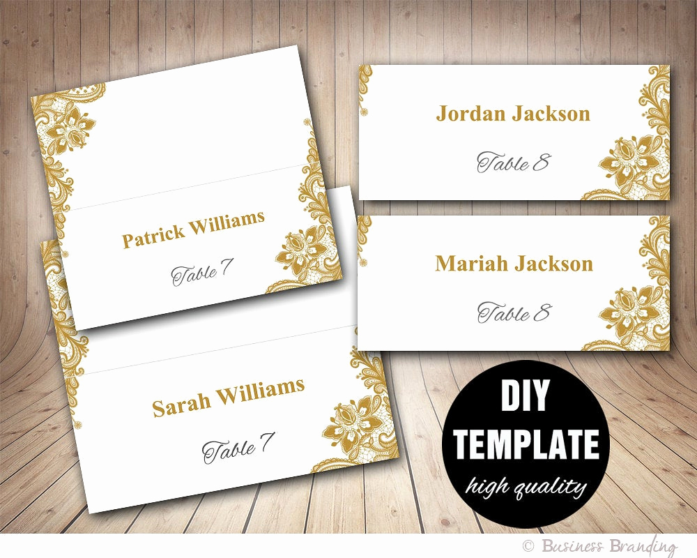 Wedding Place Cards Template New Gold Lace Wedding Place Cards Template Foldover Diy Gold