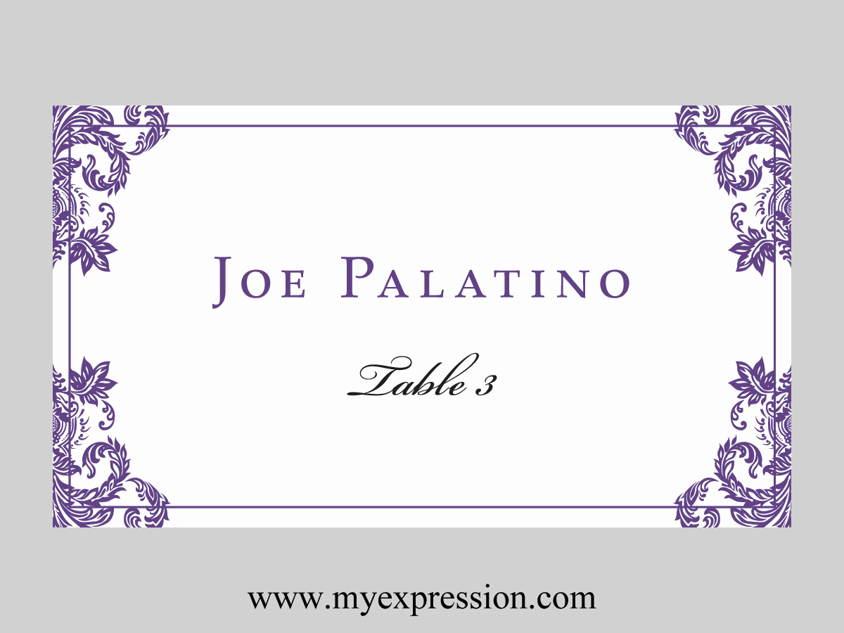 Wedding Place Cards Templates Beautiful Wedding Place Cards Flat Template Elegant Purple Damask