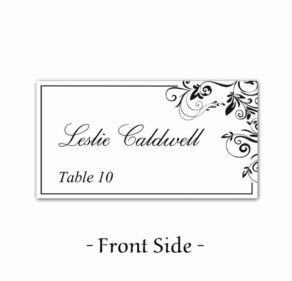 Wedding Place Cards Templates Fresh Instant Download Classic Elegance Black Leaf ornate