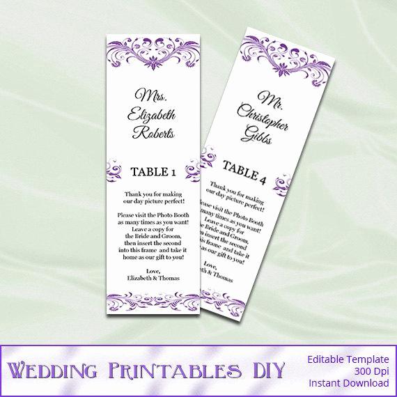 Wedding Place Cards Templates Inspirational Purple Booth Wedding Place Cards Template Diy Printable
