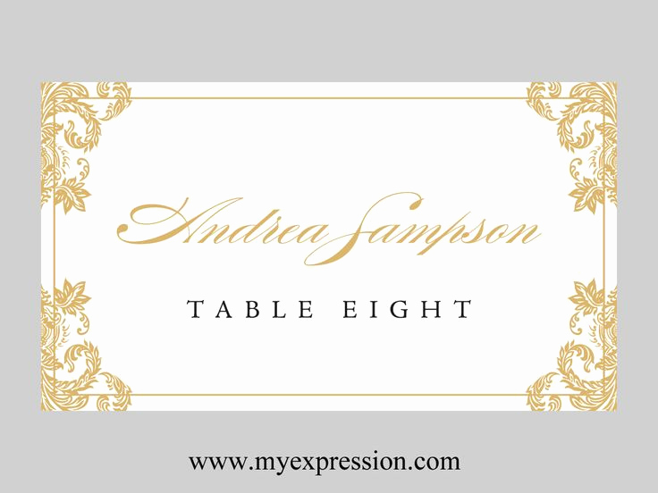 Wedding Place Cards Templates Lovely Wedding Place Cards Template Folded – Gold Damask