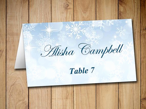 Wedding Place Cards Templates Luxury Winter Wedding Place Cards Template Tent by Paintthedaydesigns
