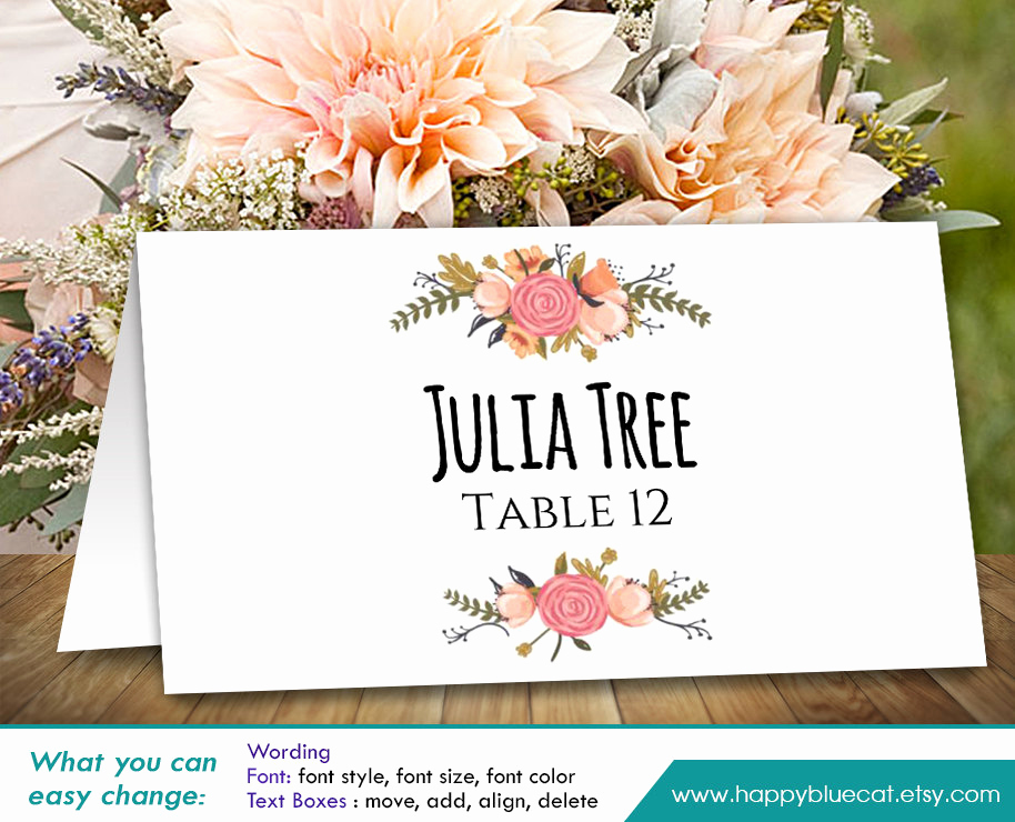 Wedding Place Cards Templates New Diy Printable Wedding Place Card Template Instant Download
