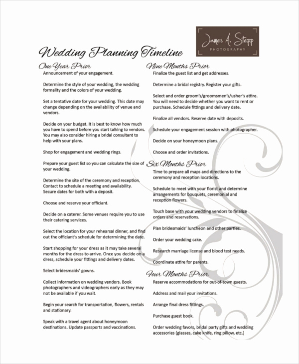 Wedding Planning Timeline Template Awesome 10 Wedding Timeline Templates Free Sample Example