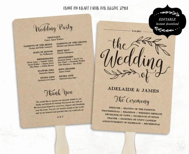 Wedding Program Fan Template Awesome Printable Wedding Program Template Fan Wedding Program