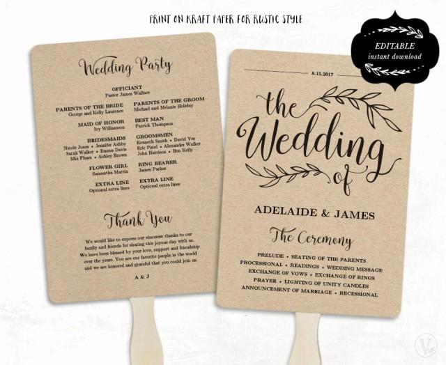printable wedding program template fan wedding program kraft paper program wedding fans editable text 5x7 wedding calligraphy