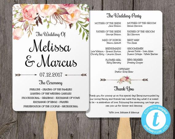 Wedding Program Fan Template Awesome Watercolor Wedding Program Fan Template with Flowers Wedding