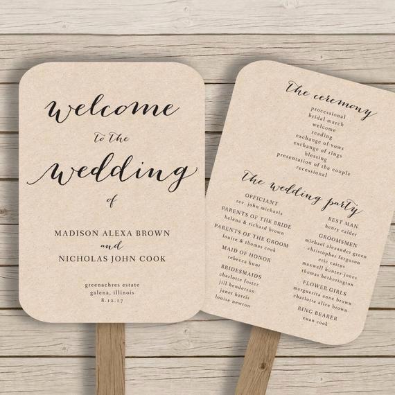 Wedding Program Fan Template Awesome Wedding Program Fan Template Printable by Hopestreetprintables