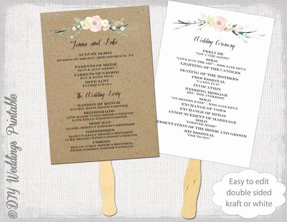 Wedding Program Fan Template Beautiful Wedding Program Fan Template Rustic Flowers Diy