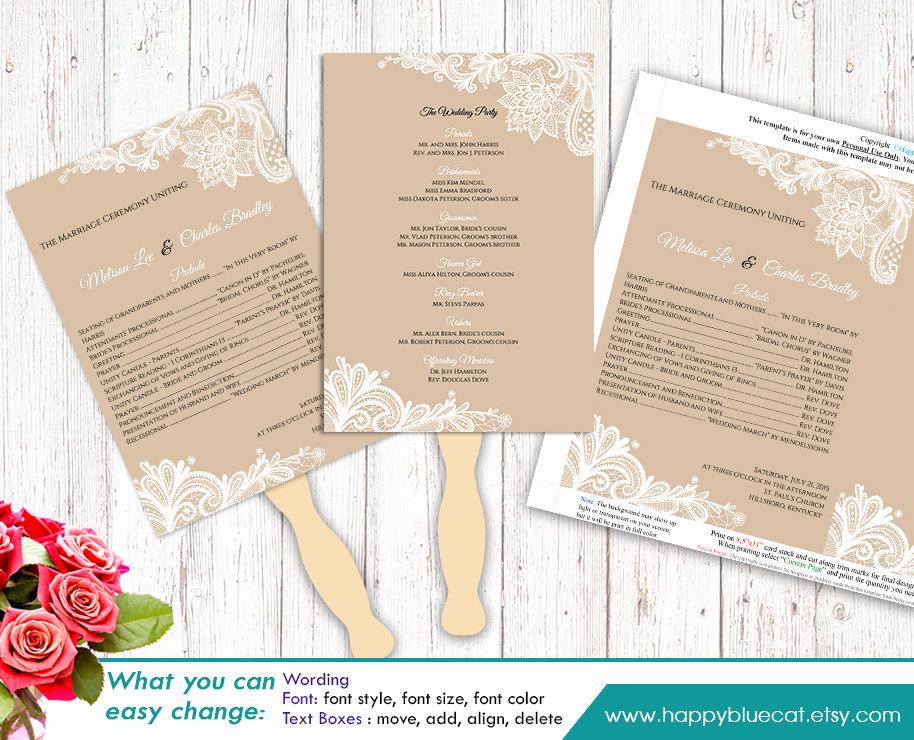 Wedding Program Fan Template Best Of Diy Printable Wedding Fan Program Template Instant Download