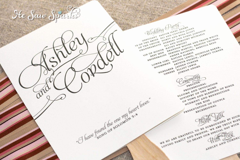 Wedding Program Fan Template Elegant Matching Paddle Fan Program Diy Printable