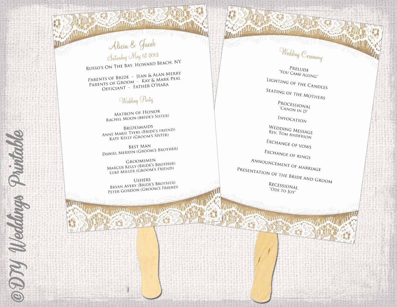 Wedding Program Fan Template Elegant Wedding Program Fan Template Rustic Burlap & Lace