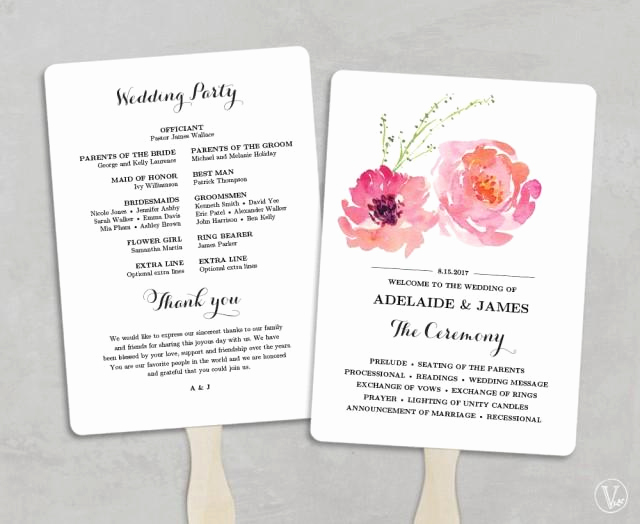 Wedding Program Fan Template Fresh Printable Wedding Program Fan Template Wedding Fans Diy