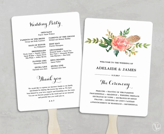 Wedding Program Fan Template Fresh Printable Wedding Program Template Fan Wedding Programs