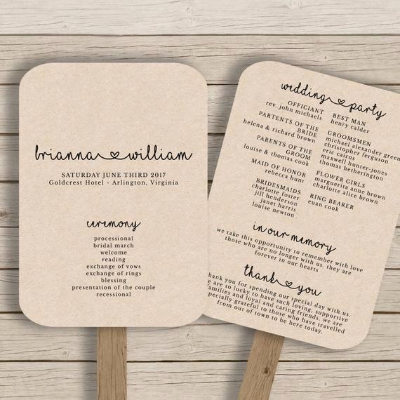 Wedding Program Fan Template Inspirational Wedding Fan Program Template Rustic Wedding Fan Printable