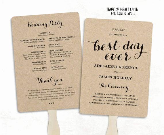 Wedding Program Fan Template Lovely Printable Wedding Program Template Fan Wedding Program Diy