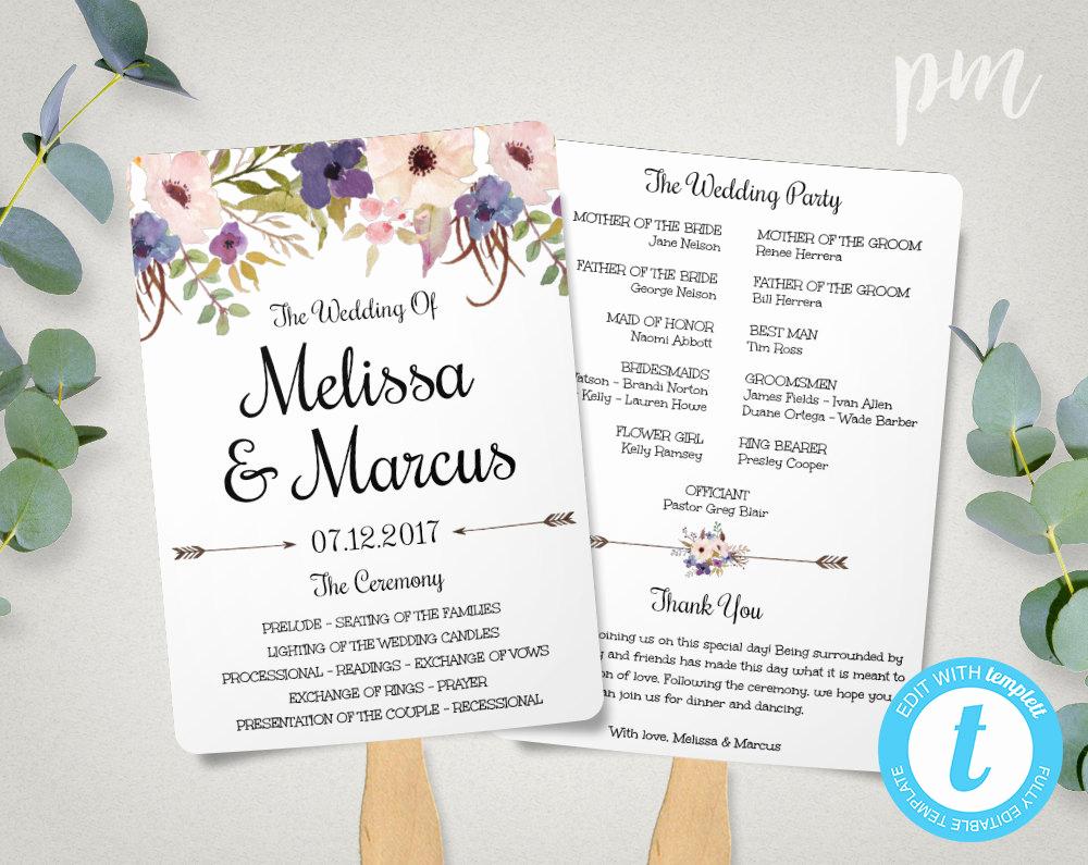 Wedding Program Fan Template Luxury Lavender Wedding Program Fan Template Watercolor Flowers