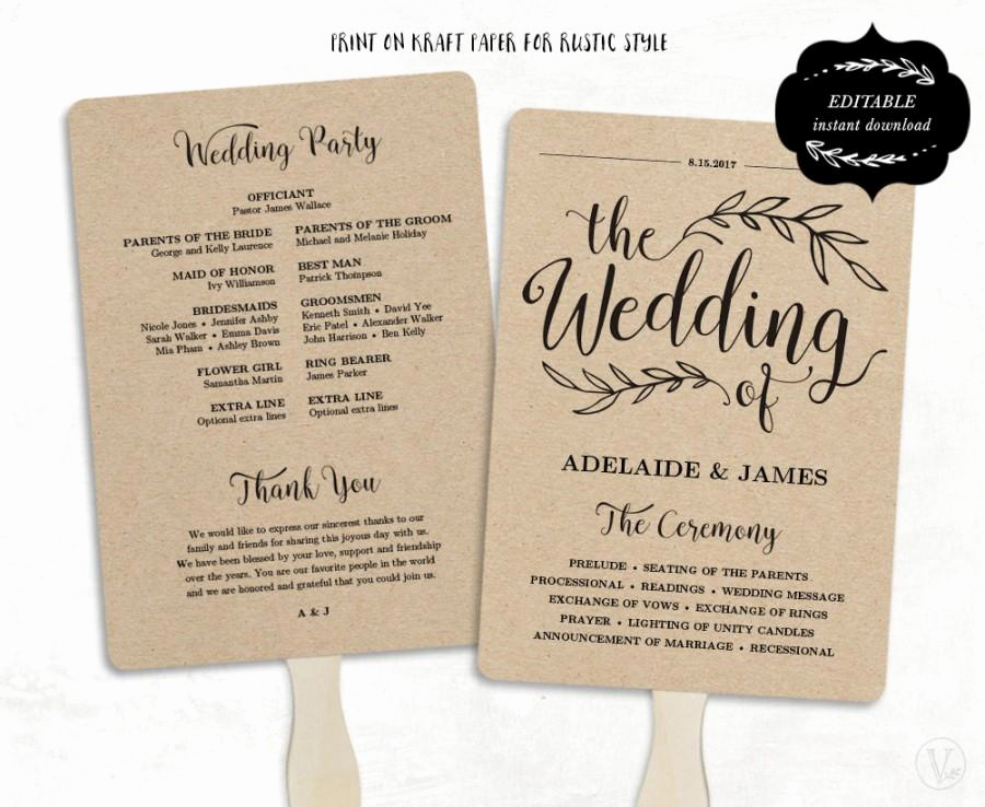 Wedding Program Fan Template Luxury Printable Wedding Program Template Fan Wedding Program