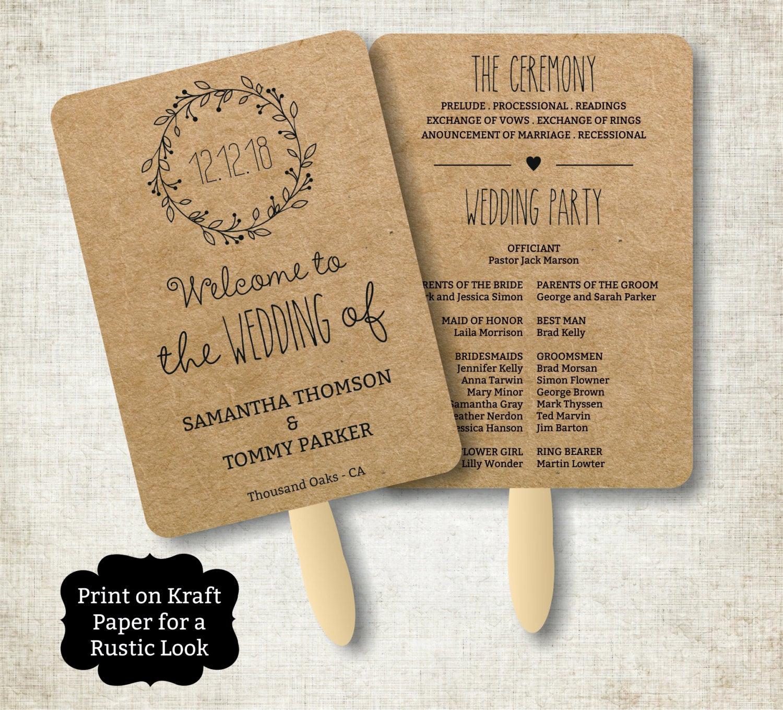 Wedding Program Fan Template New Vintage Wedding Program Fan Template Rustic Kraft Classic
