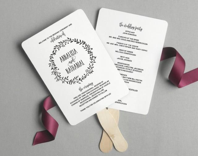 Wedding Program Fan Template New Wedding Program Fan Wedding Program Printable Rustic