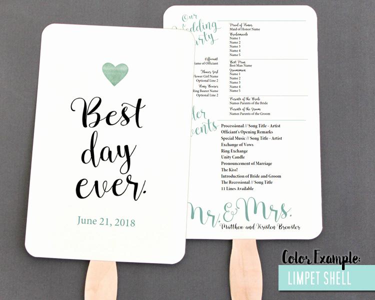Wedding Program Fan Templates Beautiful Best Day Ever Wedding Program Fan Cool Colors
