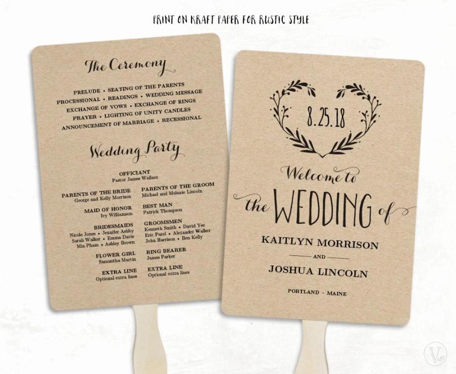 Wedding Program Fan Templates Best Of Printable Wedding Program Template Wedding Fan Programs