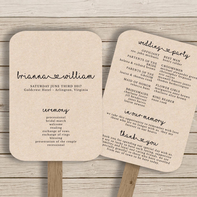 Wedding Program Fan Templates Best Of Wedding Fan Program Template Rustic Wedding Fan Printable