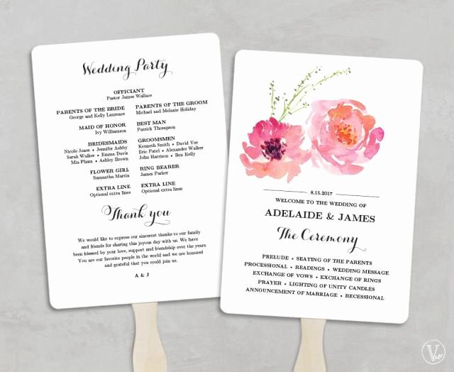 Wedding Program Fan Templates Elegant Printable Wedding Program Fan Template Wedding Fans Diy