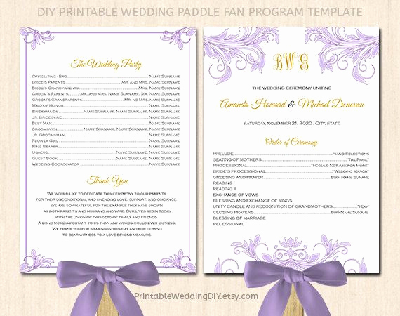 Wedding Program Fan Templates Fresh Fan Wedding Program Template Printable Fan Program Instant
