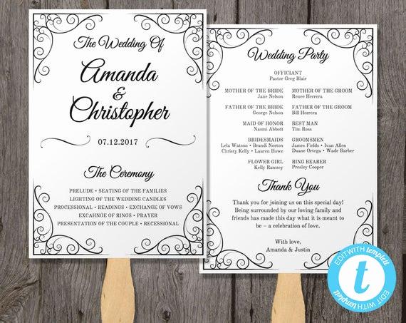 Wedding Program Fan Templates Fresh Vintage Wedding Program Fan Template Fan Wedding by Youprintem